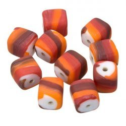 Red/Orange Candy Striped Cube Glass Beads 10mm (PK10)