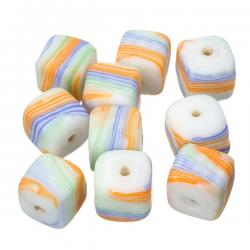 Multi Coloured Candy Striped Cube Glass Beads 10mm PK10