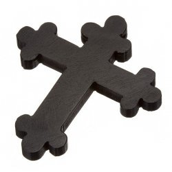 Black Large Wood Orthodox Cross Pendant Hand Carved 45x52mm PK1