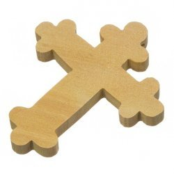 Brown Large Wood Orthodox Cross Carved Pendant Necklace 51mm PK1