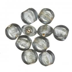 Grey Coloured Silver Lined Transparent Disc Glass Beads 10mm PK10