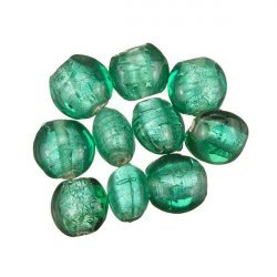 Green Transparent Silver Lined Disc Glass Beads 10mm PK10