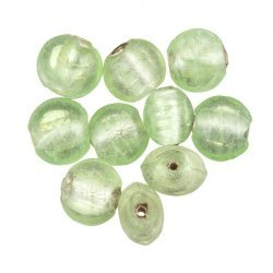 Transparent Light Green Silver Lined Disc Glass Beads 10mm PK10