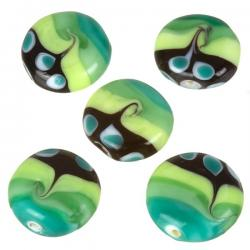 Green Seawave Patterned Flat Disc Glass Beads 20mm PK5