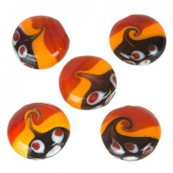 Orange/Red Seawave Pattern Flat Round Disc Glass Beads 20mm PK5