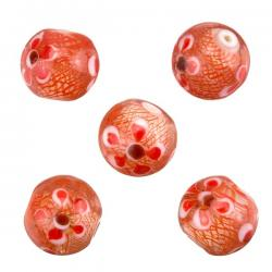 Transparent Red Flower Pattern Round Glass Beads 14mm PK5