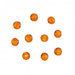 Trans Orange 6mm Faceted Crystal Round Glass Beads PK10