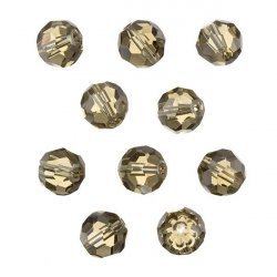 Transparent Grey 10mm Faceted Crystal Round Glass Beads PK10