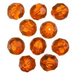 Transparent Orange 14mm Faceted Crystal Round Glass Beads PK10