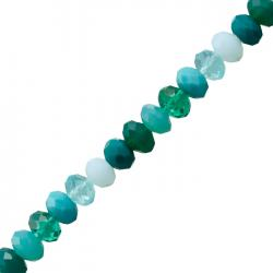 10mm Faceted Crystal Rondelle Glass Beads Teal Mix 6""