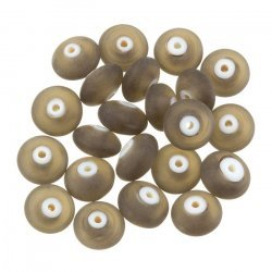 Donut Shape Matt Frosted Dark Grey Glass Bead 12mm PK20