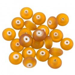Donut Shape Frosted Copper Brown Glass Bead 12mm PK20