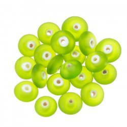 Donut Shape Matt Frosted Green Glass Bead 12x5mm PK20