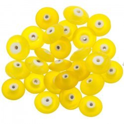 Donut Shape Matt Frosted Yellow Glass Bead 12mm PK20
