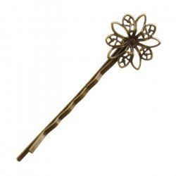 Antique Bronze Filligree Flower Hairpin Hair Grip 62x20mm PK1