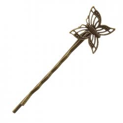 Filligree Butterfly Hair Grip Hairpin Antique Bronze 60x16mm PK1