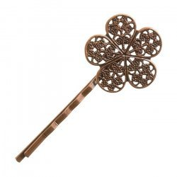 Antique Copper Filligree Flower Hairpin Hair Grip 60x25mm PK1