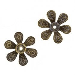 Antique Brass Filigree Six Petal Flower Bead End Caps 18mm PK2