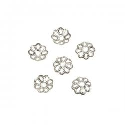 Silver Plated Filigree Petal Flower Dome Bead End Cap 6mm PK6