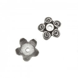 Antique Silver Findings Five Petal Flower Bead End Caps 12mm PK2