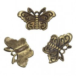 Antique Gold Small Butterfly Charm Pendants 22x12mm PK3