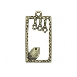 Antique Gold Bird Rectangle Charm Pendants 37x19mm PK1