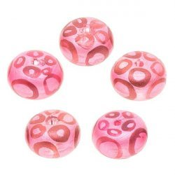 Donut Shaped Pink Leopard Print 11mm Glass Beads PK5