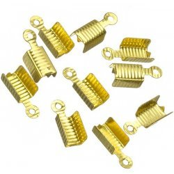Gold Plated Ribbed Fold Over Cord End Tips 13x5mm PK10