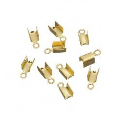 Gold Plated Fold Over Jewellery Cord End Tip 8x3mm PK20