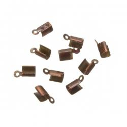 Copper Plated Fold Over Jewellery Cord End Tip 4mm PK10