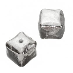 Large Bright Silver Smooth Metal Cube Beads 16mm PK2