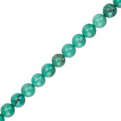 "Blue Turquoise Round Gemstone Beads 8mm 15.5"" Strand"