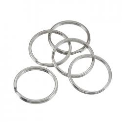 Large (Bead) Split-Rings/Keyring Silver 25mm Pack of 5