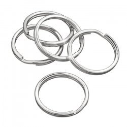 30mm Key Ring/Split Rings Silver Findings (Pack of 5)