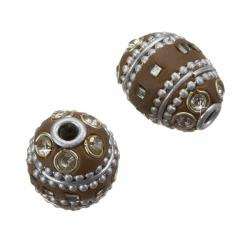 Maruti Hand Made Kashmiri Lac Brown Oval Bead 20mm PK2