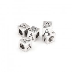 Alphabet Letter Beads 'A' Silver Metal Cube Charm 7mm PK5