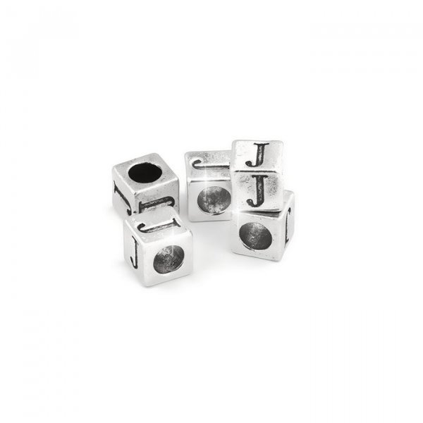 Alphabet Letter Beads 'J' Silver Metal Cube Charm 7mm PK5