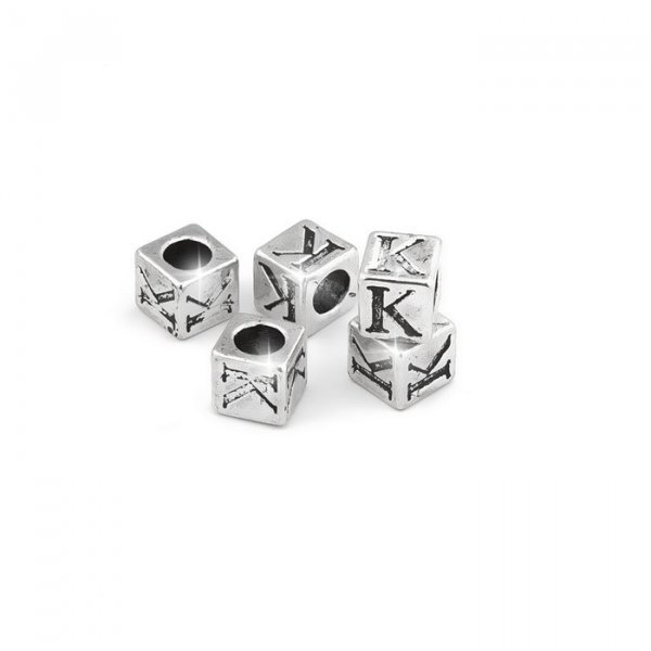 Alphabet Letter Beads 'K' Silver Metal Cube Charm 7mm PK5