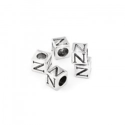Alphabet Letter Beads 'N' Silver Metal Cube Charm 7mm PK5