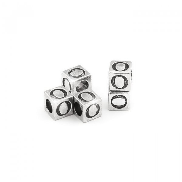 Alphabet Letter Beads 'O' Silver Metal Cube Charm 7mm PK5