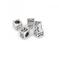 Alphabet Letter Beads 'R' Silver Metal Cube Charm 7mm PK5