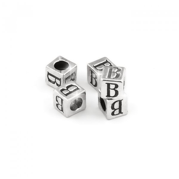 Alphabet Letter Beads 'B' Silver Metal Cube Charm 7mm PK5