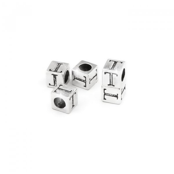 Alphabet Letter Beads 'T' Silver Metal Cube Charm 7mm PK5