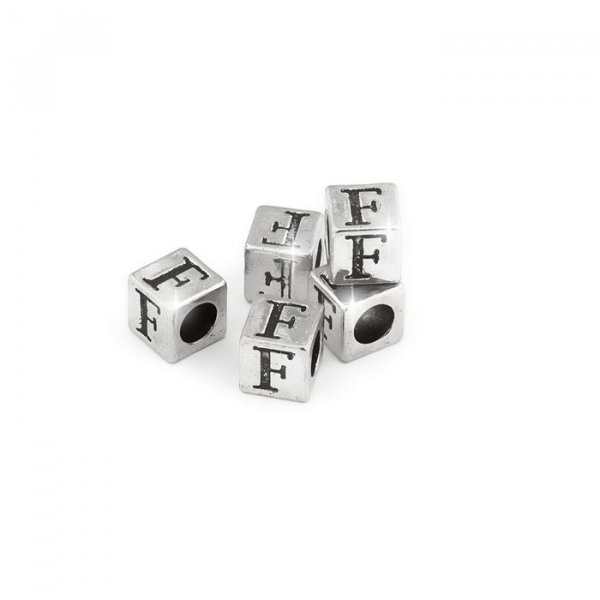 Alphabet Letter Beads 'F' Silver Metal Cube Charm 7mm PK5