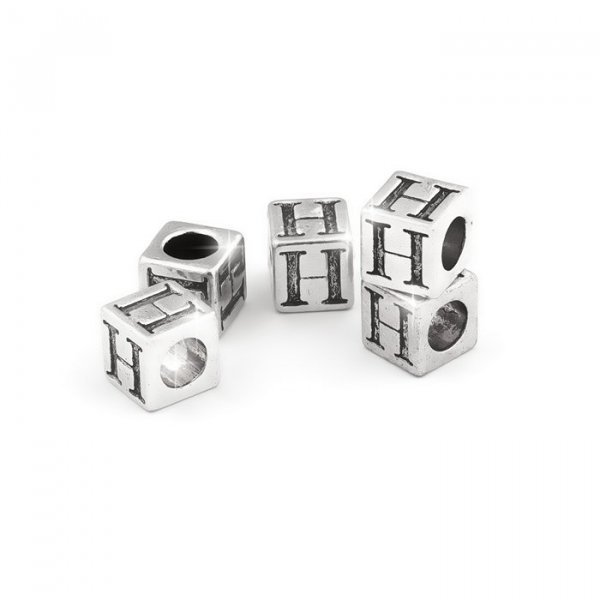 Alphabet Letter Beads 'H' Silver Metal Cube Charm 7mm PK5