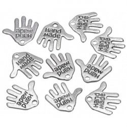 Silver Hand Shaped 'Hand Made' Metal Charm Pendants 12mm PK10