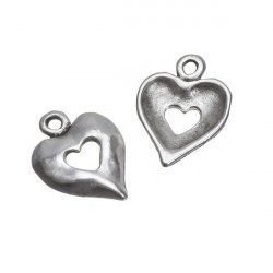 Antique Silver Cutout Heart Charm Pendants 16mm PK2