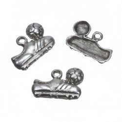 Antique Silver Football Shoe Charm Pendants 14mm PK3