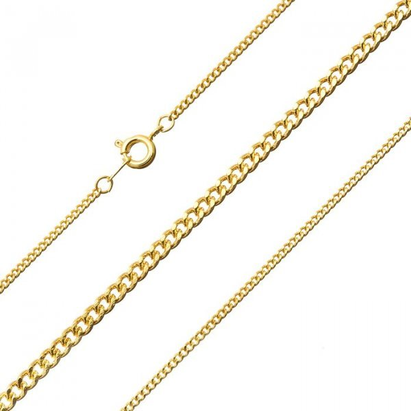 Gold Plated Facet Complete Curb Chain with Bolt Clasp 16