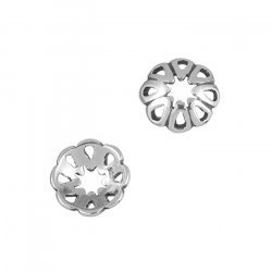 Antique Sterling Silver Bead Cap - Pierced Petals (9mm)